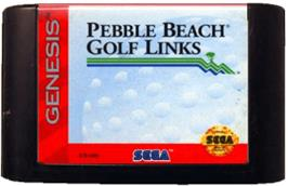 Cartridge artwork for True Golf Classics: Pebble Beach Golf Links on the Sega Genesis.