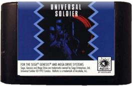 Cartridge artwork for Universal Soldier on the Sega Genesis.