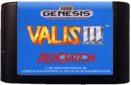 Cartridge artwork for Valis 3 on the Sega Genesis.