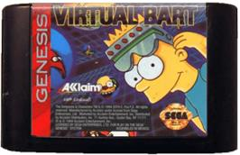 Cartridge artwork for Virtual Bart on the Sega Genesis.