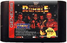 Cartridge artwork for WWF Royal Rumble on the Sega Genesis.