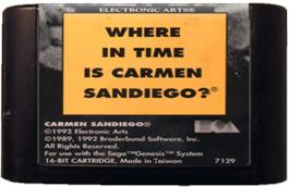 Cartridge artwork for Where in Time is Carmen Sandiego on the Sega Genesis.