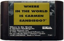 Cartridge artwork for Where in the World is Carmen Sandiego on the Sega Genesis.