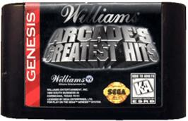 Cartridge artwork for Williams Arcade's Greatest Hits on the Sega Genesis.