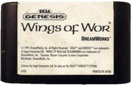 Cartridge artwork for Wings of Wor on the Sega Genesis.