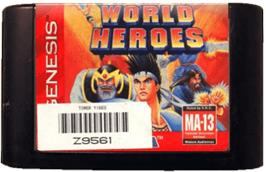 Cartridge artwork for World Heroes on the Sega Genesis.