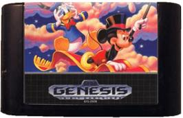 Cartridge artwork for World of Illusion starring Mickey Mouse and Donald Duck on the Sega Genesis.