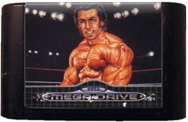 Cartridge artwork for Wrestle War on the Sega Genesis.
