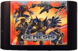 Cartridge artwork for X-Men on the Sega Genesis.