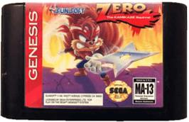 Cartridge artwork for Zero the Kamikaze Squirrel on the Sega Genesis.