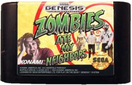 Cartridge artwork for Zombies Ate My Neighbors on the Sega Genesis.