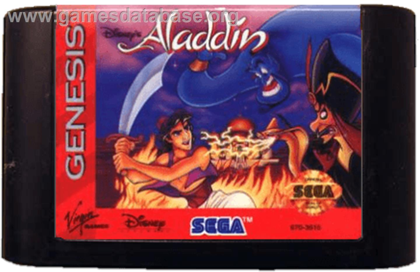 Cartridge artwork for Aladdin on the Sega Genesis.