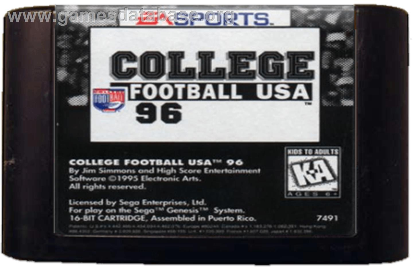 College Football USA 96 - Sega Genesis - Artwork - Cartridge