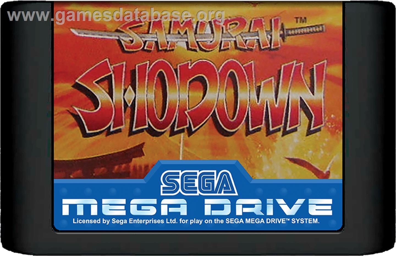 Cartridge artwork for Samurai Shodown / Samurai Spirits on the Sega