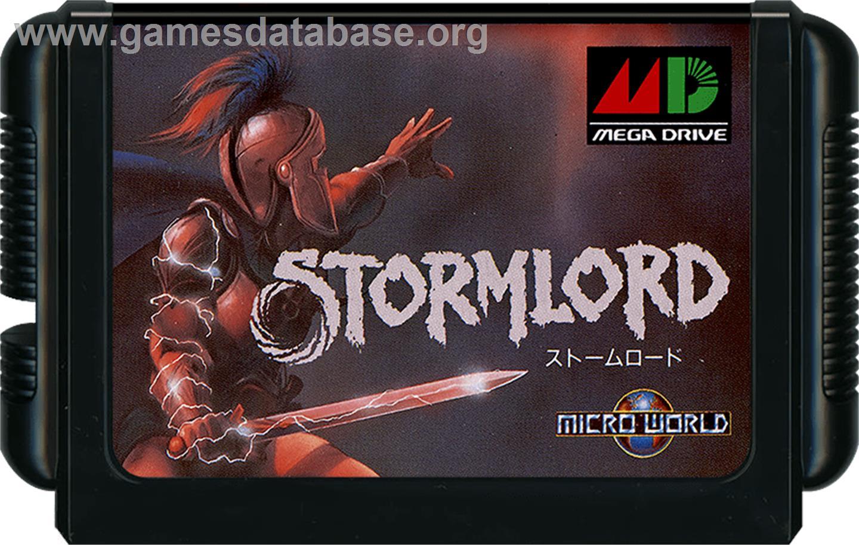 Cartridge artwork for Stormlord on the Sega Genesis.