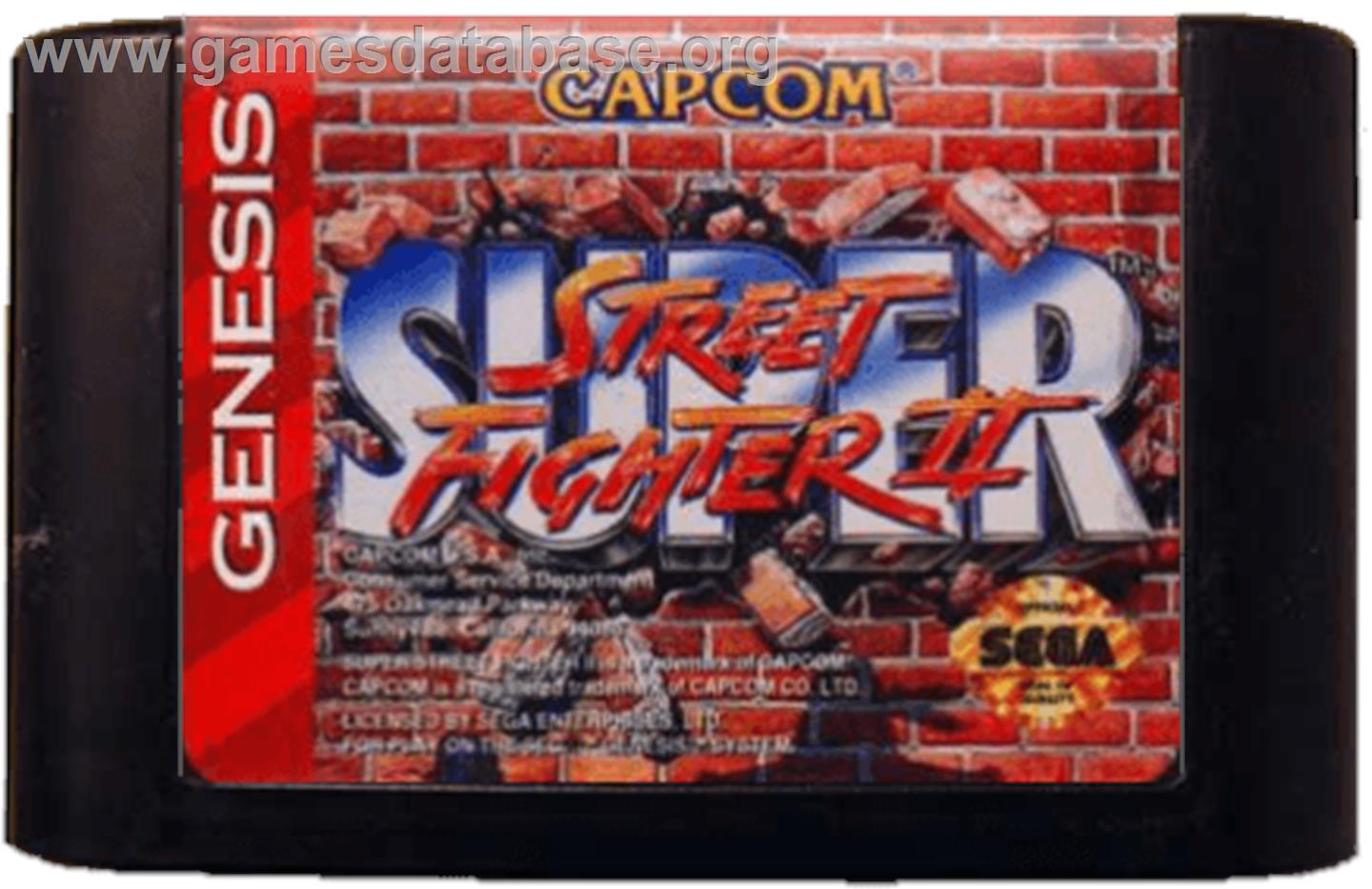 Cartridge artwork for Super Street Fighter II - The New Challengers on