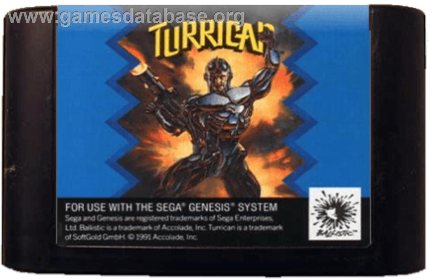 Turrican - Sega Genesis - Artwork - Cartridge