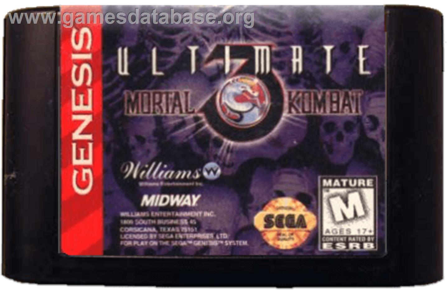 Ultimate Mortal Kombat 3 - Sega Genesis - Artwork - Cartridge
