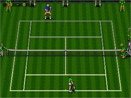 In game image of ATP Tour Championship Tennis on the Sega Genesis.