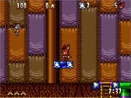 In game image of Aero the Acro-Bat on the Sega Genesis.