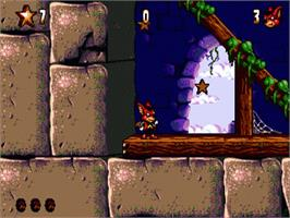 In game image of Aero the Acro-Bat 2 on the Sega Genesis.