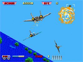 In game image of After Burner II on the Sega Genesis.