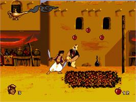 In game image of Aladdin on the Sega Genesis.