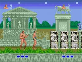 In game image of Altered Beast on the Sega Genesis.