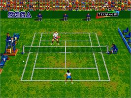 In game image of Andre Agassi Tennis on the Sega Genesis.