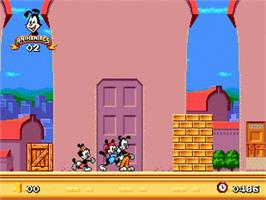 In game image of Animaniacs on the Sega Genesis.
