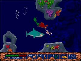 In game image of Ariel the Little Mermaid on the Sega Genesis.
