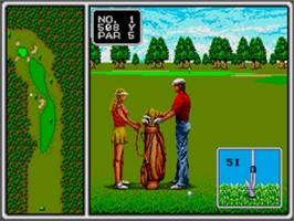 In game image of Arnold Palmer Tournament Golf on the Sega Genesis.