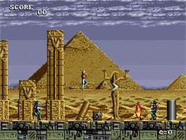 In game image of Atomic Runner on the Sega Genesis.