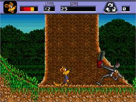 In game image of Awesome Possum Kicks Dr. Machino's Butt on the Sega Genesis.