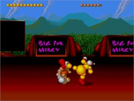 In game image of Ballz 3D on the Sega Genesis.