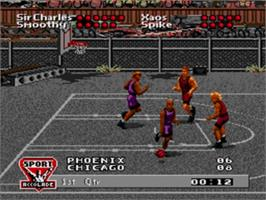 In game image of Barkley: Shut Up and Jam on the Sega Genesis.
