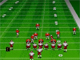 In game image of Bill Walsh College Football on the Sega Genesis.