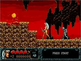 In game image of Blades of Vengeance on the Sega Genesis.