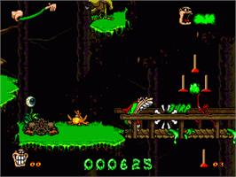 In game image of Boogerman: A Pick and Flick Adventure on the Sega Genesis.