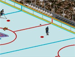 In game image of Brett Hull Hockey '95 on the Sega Genesis.