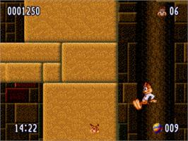 In game image of Bubsy 2 on the Sega Genesis.