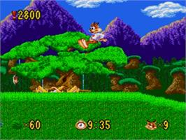 In game image of Bubsy in: Claws Encounters of the Furred Kind on the Sega Genesis.