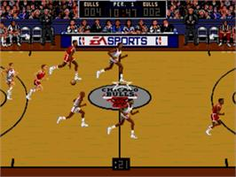 In game image of Bulls vs. Blazers and the NBA Playoffs on the Sega Genesis.