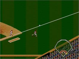 In game image of Cal Ripken Jr. Baseball on the Sega Genesis.