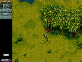 In game image of Cannon Fodder on the Sega Genesis.