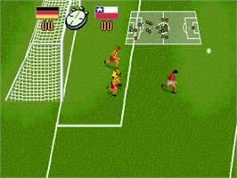 In game image of Champions World Class Soccer on the Sega Genesis.
