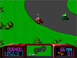 In game image of Championship Pro-Am on the Sega Genesis.