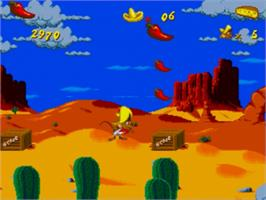 In game image of Cheese Cat-Astrophe starring Speedy Gonzales on the Sega Genesis.