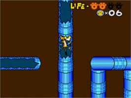 In game image of Chester Cheetah: Too Cool to Fool on the Sega Genesis.