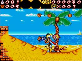 In game image of Chester Cheetah: Wild Wild Quest on the Sega Genesis.